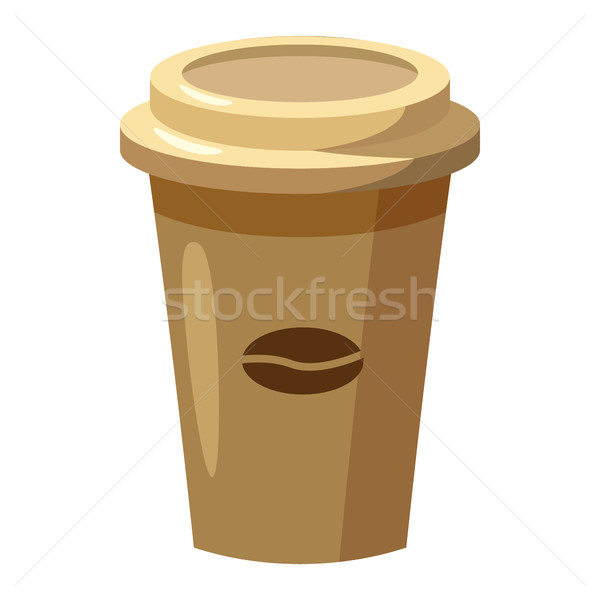 Desechable taza de café icono Cartoon estilo grano de café Foto stock © ylivdesign
