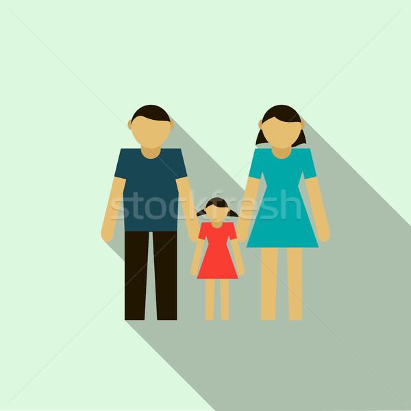 Aile ikon stil açık mavi kız sevmek Stok fotoğraf © ylivdesign