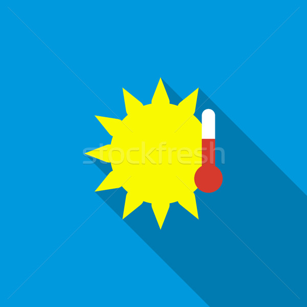 Sun with thermometer icon, flat style Stock photo © ylivdesign