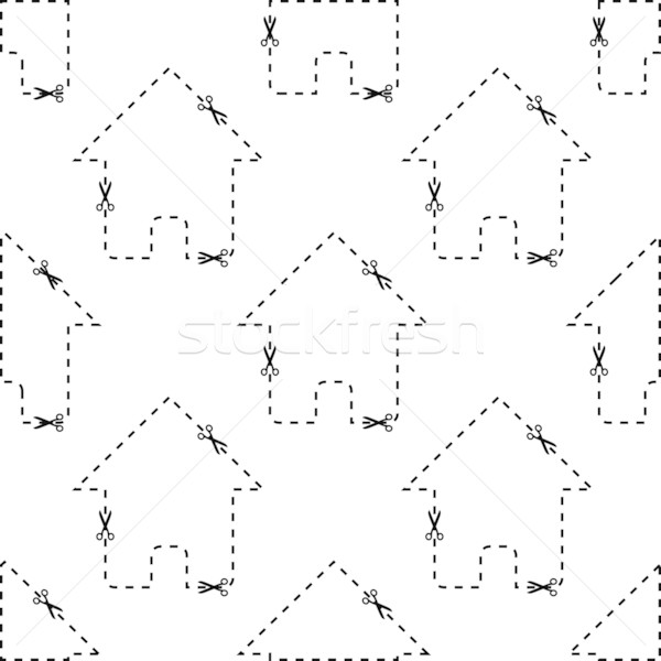 House dashed contour pattern Stock photo © ylivdesign