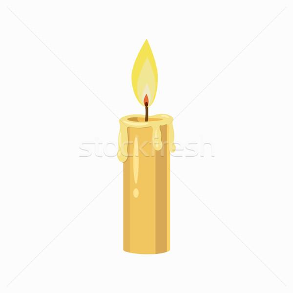 Kaars icon cartoon stijl brandend geïsoleerd Stockfoto © ylivdesign