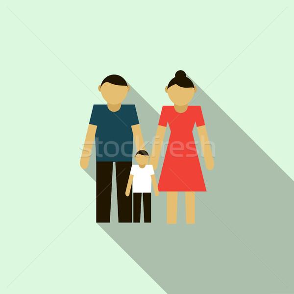 Familie icon stijl lichtblauw vrouw vrouwen Stockfoto © ylivdesign