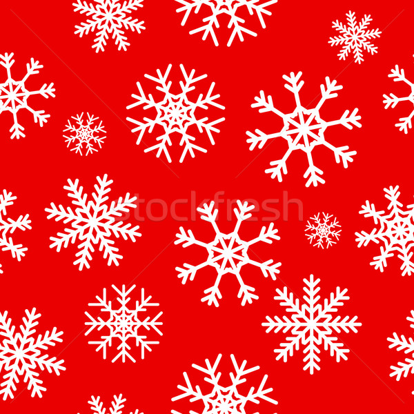 White snowflakes on red background Stock photo © ylivdesign