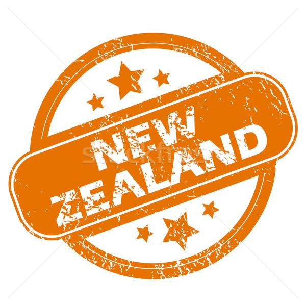 Új-Zéland grunge ikon narancs pecsét fehér Stock fotó © ylivdesign