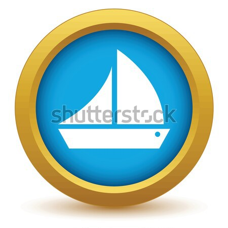 Stock photo: Gold ship icon
