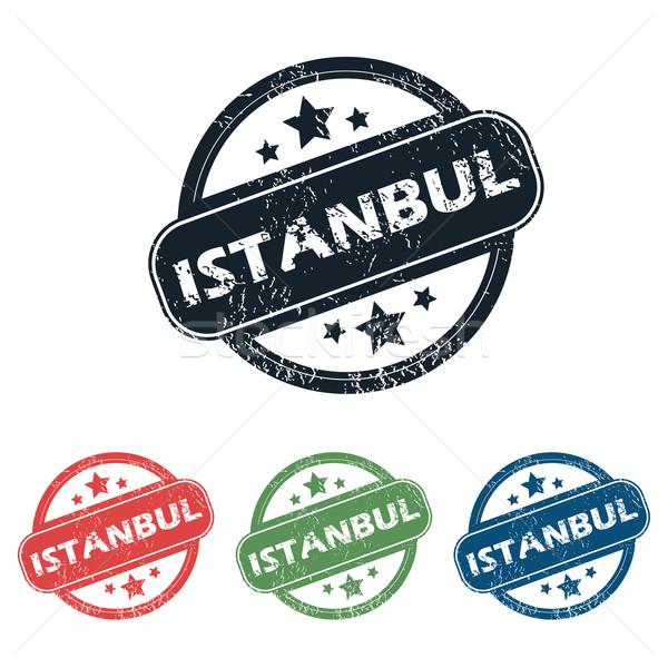 Isztambul város bélyeg szett négy bélyegek Stock fotó © ylivdesign