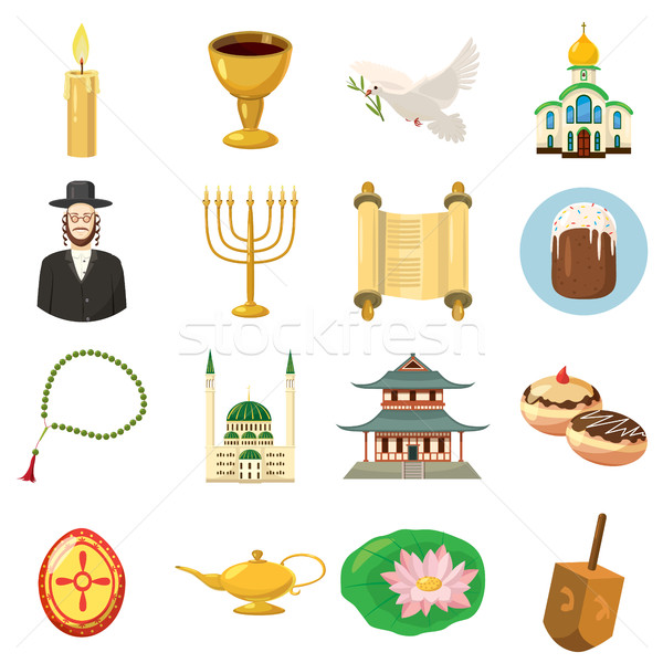 Religion icons set, cartoon style Stock photo © ylivdesign