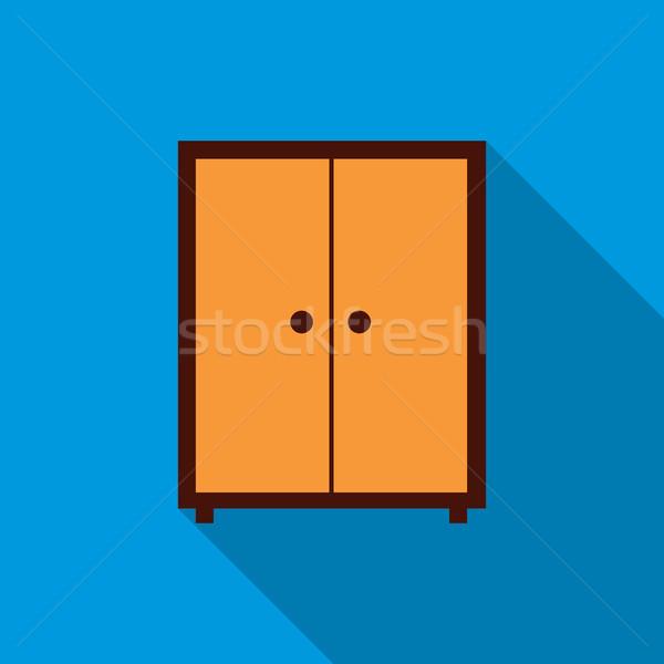 Ruhásszekrény ikon stílus hosszú árnyék otthon Stock fotó © ylivdesign