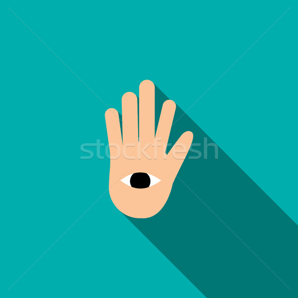 Hand with the eye icon in flat style  Stock photo © ylivdesign
