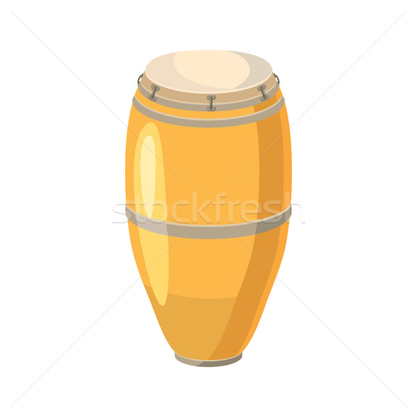 étnicas tambor icono Cartoon estilo blanco Foto stock © ylivdesign
