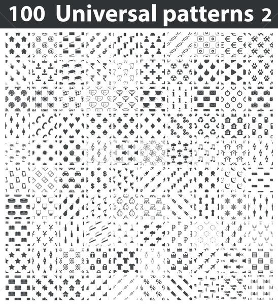 Evrensel desen ayarlamak siyah beyaz Stok fotoğraf © ylivdesign
