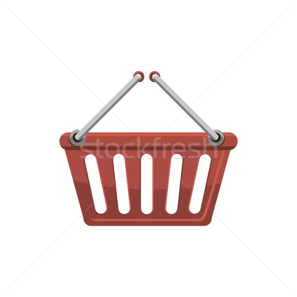 Bevásárlókosár ikon rajz stílus piros izolált Stock fotó © ylivdesign
