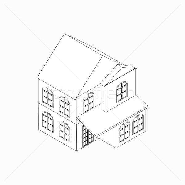Maison individuelle icône isométrique 3D style isolé Photo stock © ylivdesign
