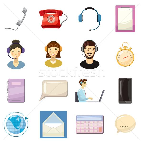 Call center icons set, cartoon style Stock photo © ylivdesign