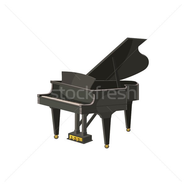 Black grand piano icon, cartoon style Stock photo © ylivdesign