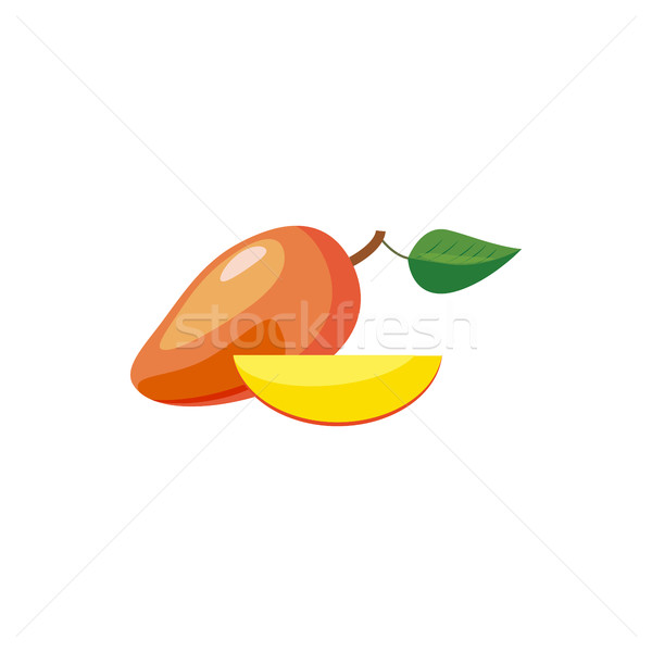 Vers mango icon cartoon stijl witte Stockfoto © ylivdesign