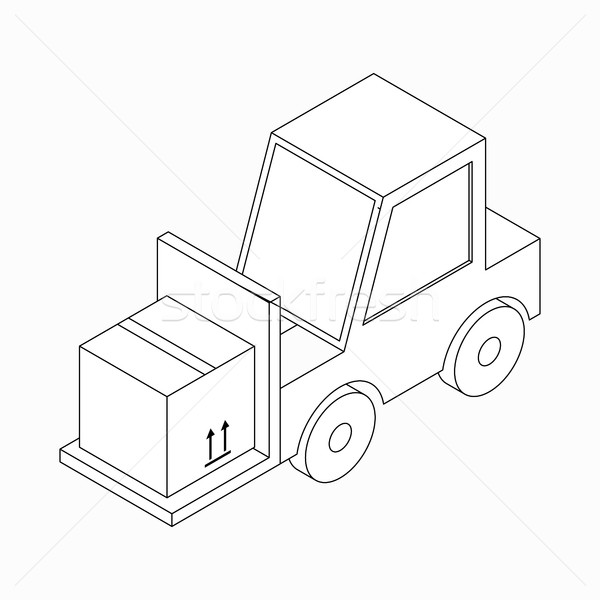Forklift truck carrying box icon, isometric 3d  Stock photo © ylivdesign