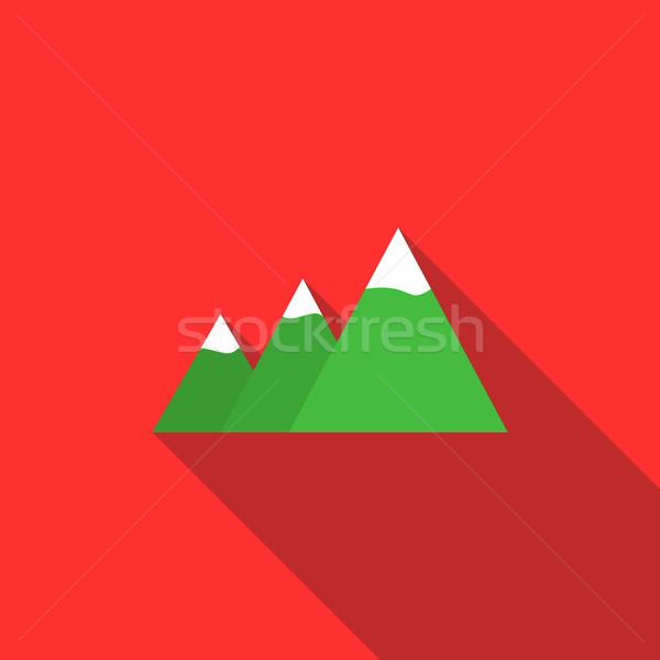 Bergen icon stijl lang schaduw natuurlijke Stockfoto © ylivdesign