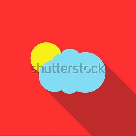 Zon cloud icoon stijl lang schaduw weer Stockfoto © ylivdesign