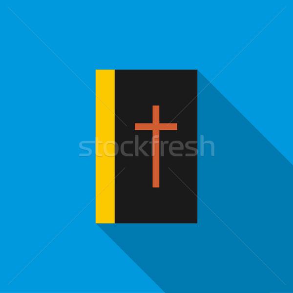 Nero bible libro icona stile blu Foto d'archivio © ylivdesign