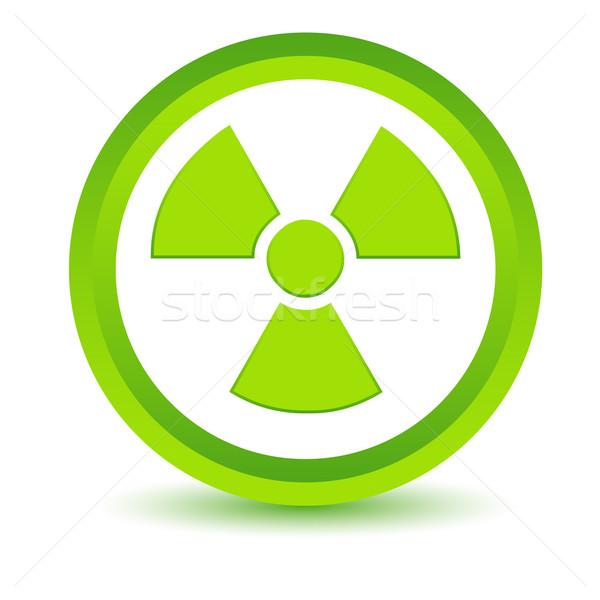 Yeşil nükleer ikon beyaz düğme www Stok fotoğraf © ylivdesign