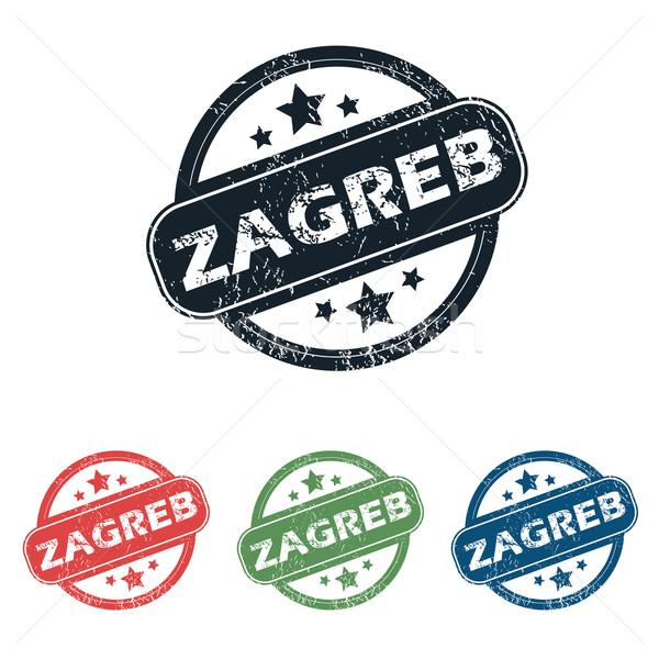 Round Zagreb city stamp set Stock photo © ylivdesign