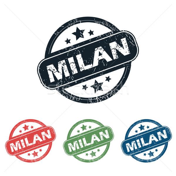 Milaan stad stempel ingesteld vier postzegels Stockfoto © ylivdesign