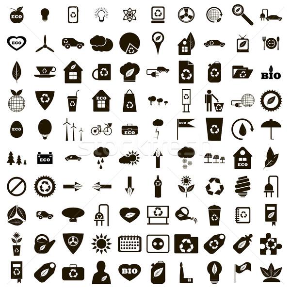 100 eco icons set, simple style  Stock photo © ylivdesign