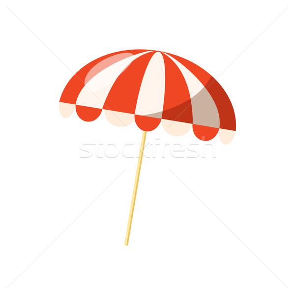 Csíkos napernyő ikon rajz stílus fehér Stock fotó © ylivdesign