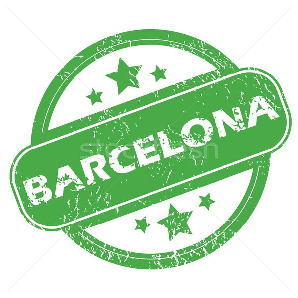 Barcelona zöld bélyeg pecsét név csillagok Stock fotó © ylivdesign