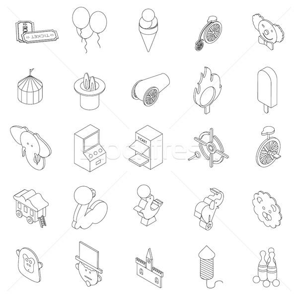 Amusement park icons set, isometric 3d style Stock photo © ylivdesign