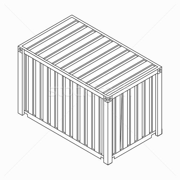Teher konténer ikon izometrikus 3D stílus Stock fotó © ylivdesign