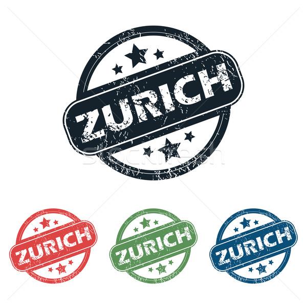 Zürich város bélyeg szett négy bélyegek Stock fotó © ylivdesign