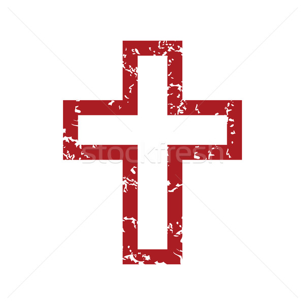 Red grunge Christianity logo Stock photo © ylivdesign