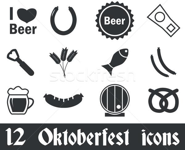 12 oktoberfest bianco nero alimentare pesce Foto d'archivio © ylivdesign