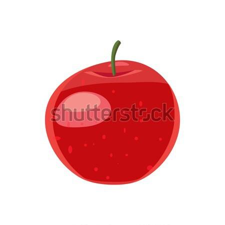 赤いリンゴ アイコン 漫画 スタイル 白 食品 ストックフォト © ylivdesign