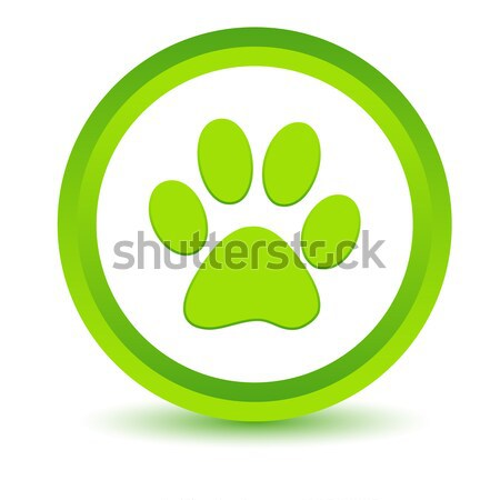 Yeşil pençe ikon beyaz hayvan düğme Stok fotoğraf © ylivdesign