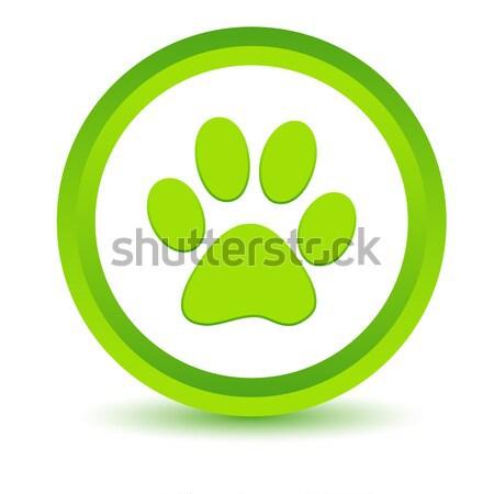 Verde pata ícone branco animal botão Foto stock © ylivdesign