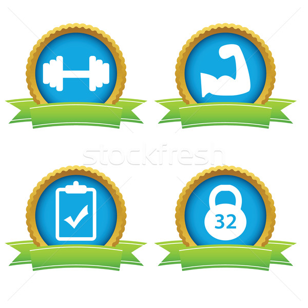 Weightlifting icons set Stock photo © ylivdesign