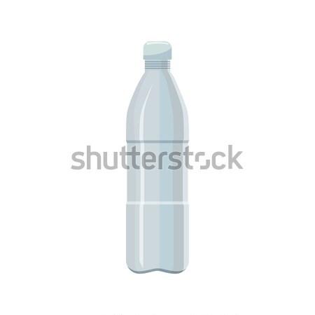 Plastic fles icon cartoon stijl witte Stockfoto © ylivdesign