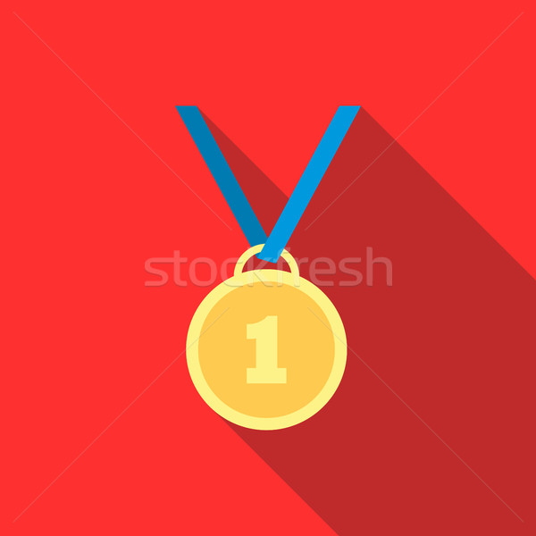 Gold medal icon in flat style  Stock photo © ylivdesign