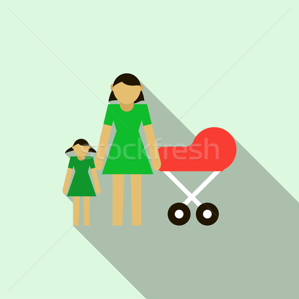 Mother with daughter and baby in red pram icon Stock photo © ylivdesign