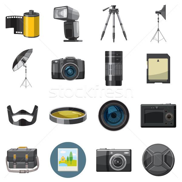 Stock fotó: Fotó · ikon · szett · stílus · izolált · fehér · technológia