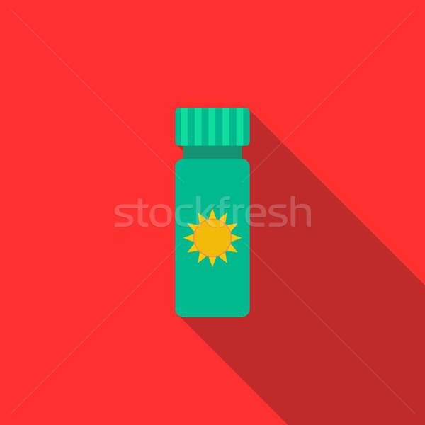 Napozókrém ikon stílus hosszú árnyék nyár Stock fotó © ylivdesign