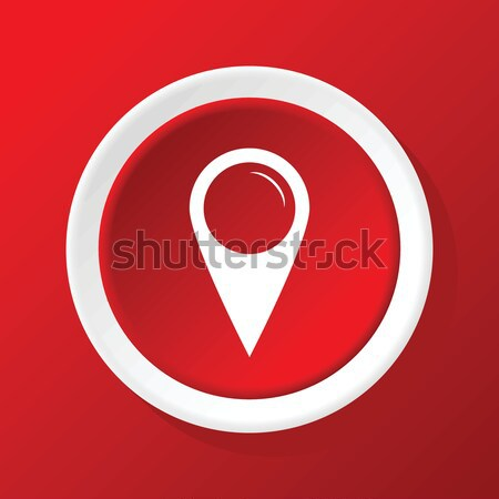 Map pointer icon on red Stock photo © ylivdesign