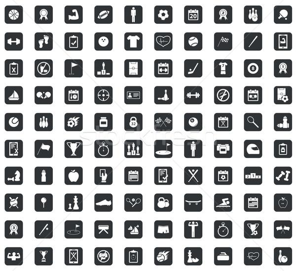100 spor kare siyah kareler Stok fotoğraf © ylivdesign