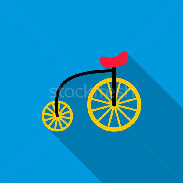 Bike icona stile blu muro metal Foto d'archivio © ylivdesign