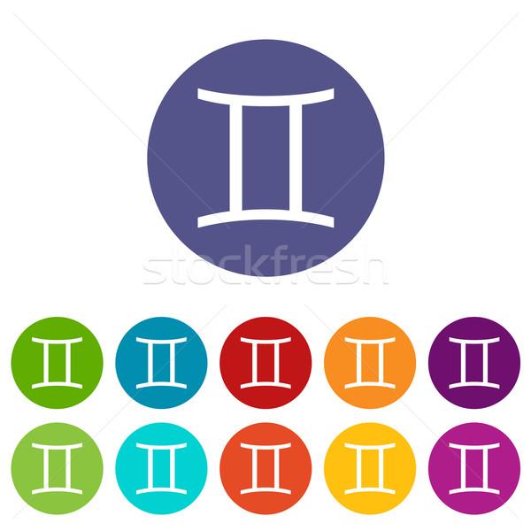 Gemini flat icon Stock photo © ylivdesign