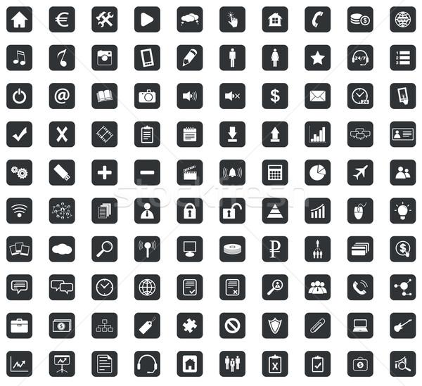 100 webdesign ikon szett tér fekete négyzetek Stock fotó © ylivdesign