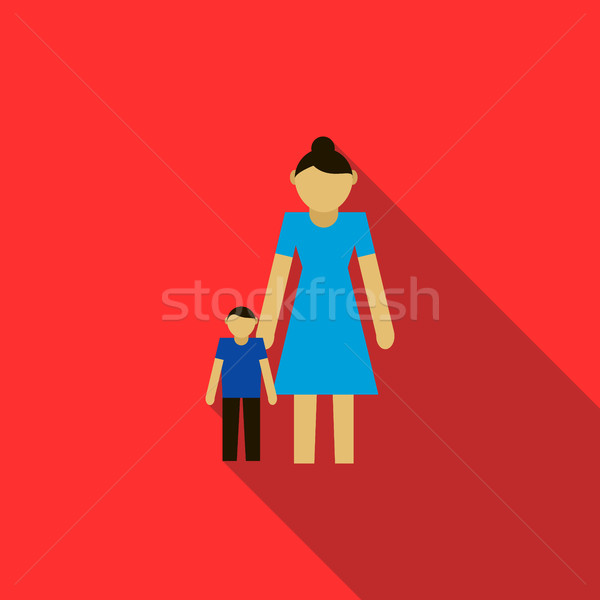 Moeder zoon icon stijl Rood familie Stockfoto © ylivdesign